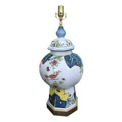 Italian Painted Porcelain Lamp, circa 1970s-1980s
