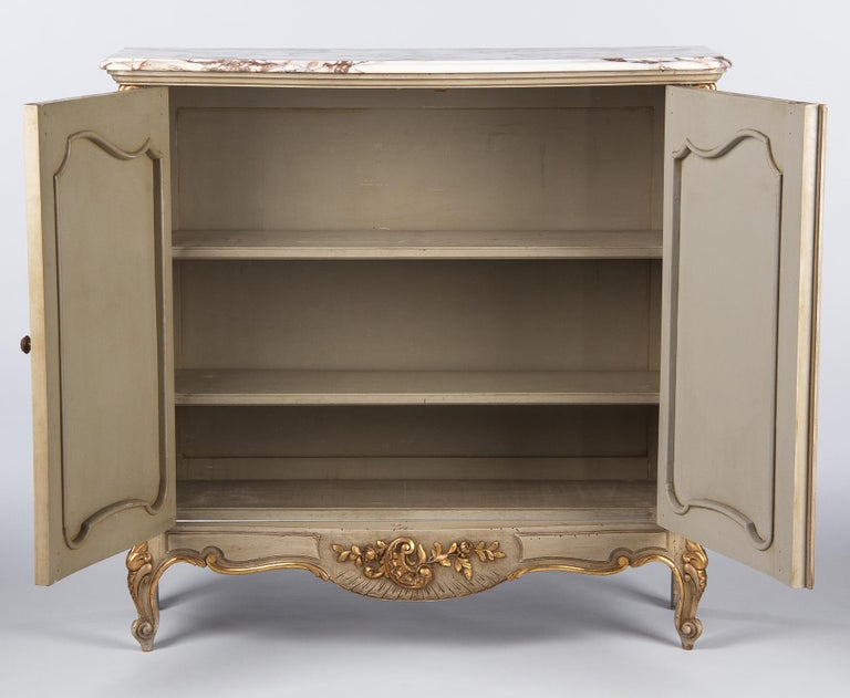 Italian Painted Sideboard with Marble Top in Louis XV Style, 1950s 10