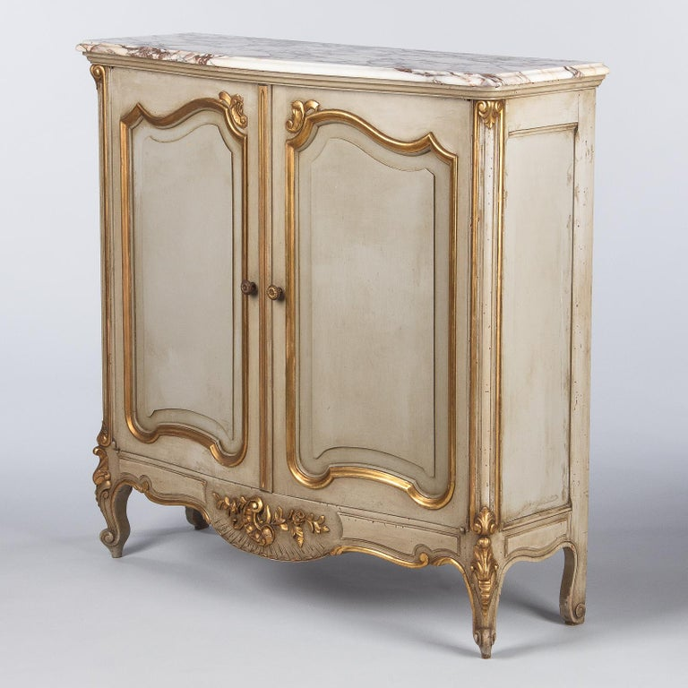 Italian Painted Sideboard with Marble Top in Louis XV Style, 1950s 12