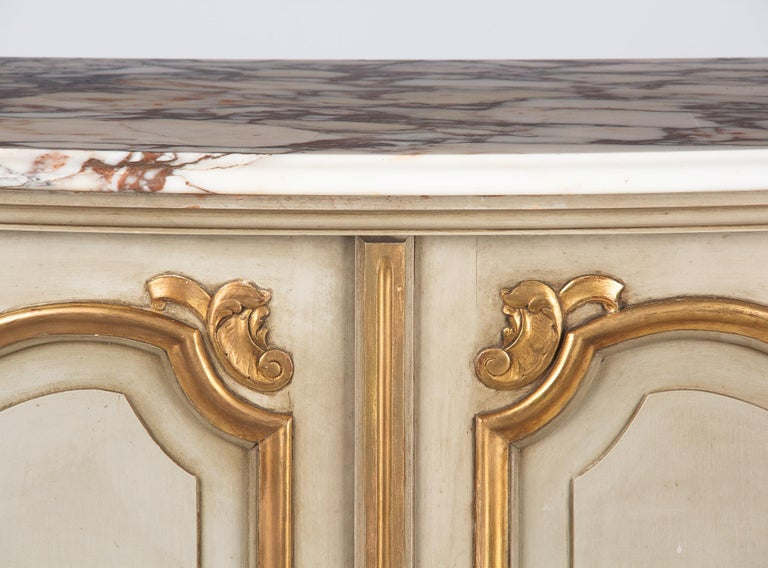 Italian Painted Sideboard with Marble Top in Louis XV Style, 1950s 13