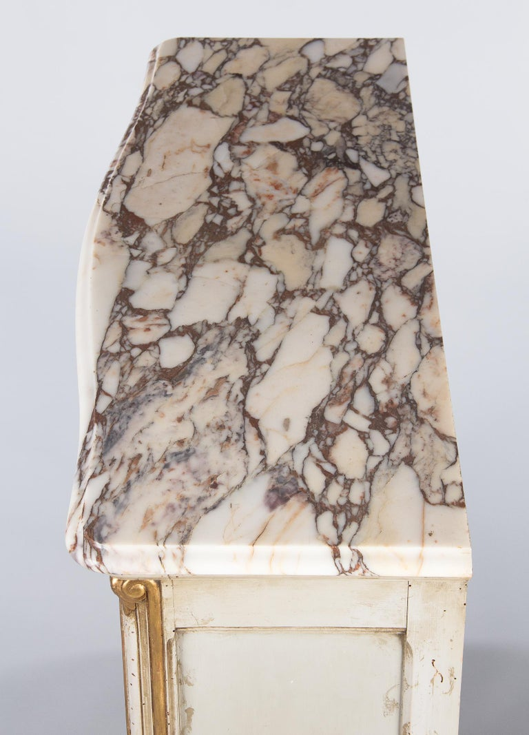 Italian Painted Sideboard with Marble Top in Louis XV Style, 1950s 16