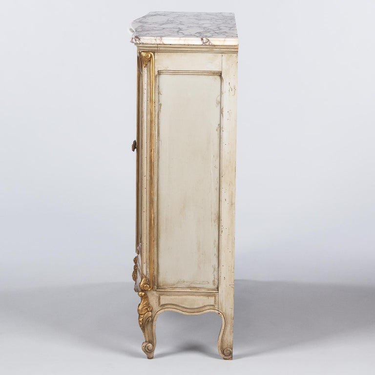 Italian Painted Sideboard with Marble Top in Louis XV Style, 1950s 17