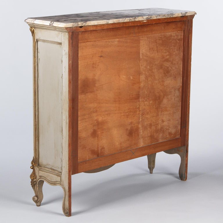 Italian Painted Sideboard with Marble Top in Louis XV Style, 1950s 18