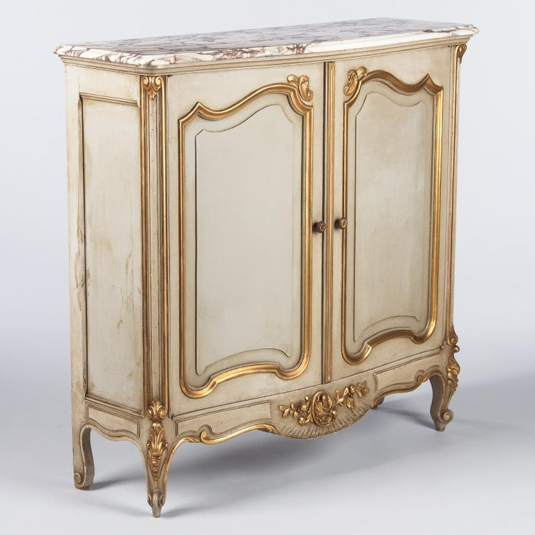 Italian Painted Sideboard with Marble Top in Louis XV Style, 1950s 3