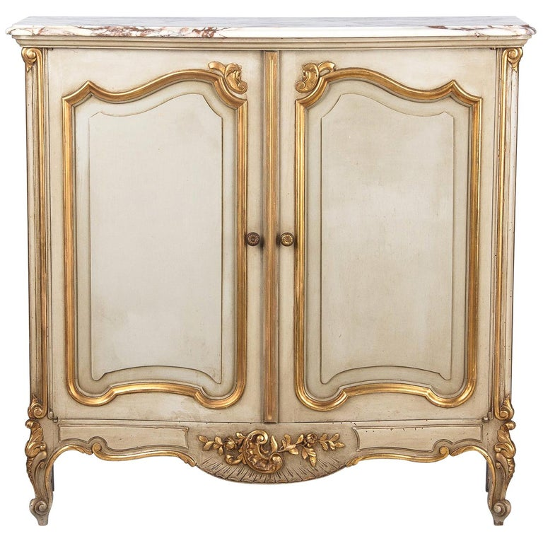 Italian Painted Sideboard with Marble Top in Louis XV Style, 1950s For Sale