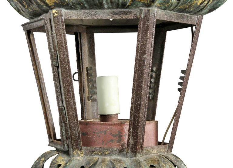 18th Century Italian Painted Tole Hall Lantern For Sale