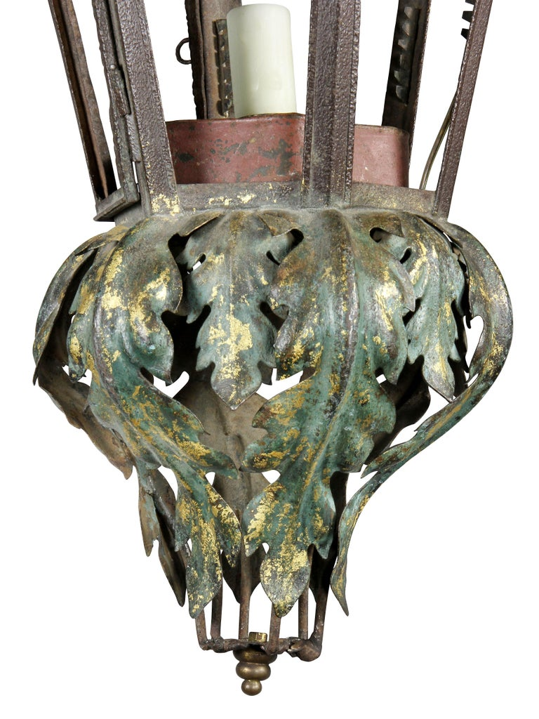 Tin Italian Painted Tole Hall Lantern For Sale