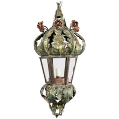 Italian Painted Tole Hall Lantern