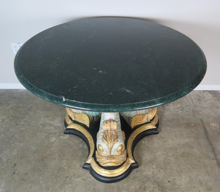 Baroque Italian Painted Tripod Dolphin Base Table with Marble Top For Sale