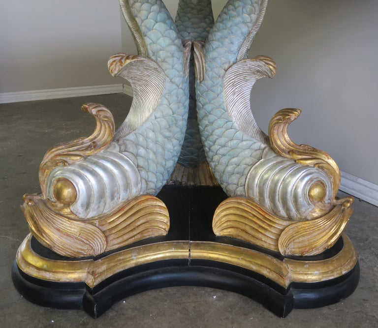 Italian Painted Tripod Dolphin Base Table with Marble Top In Excellent Condition For Sale In Los Angeles, CA