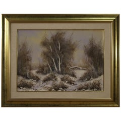 Italian Painted Winter Landscape, 20th Century