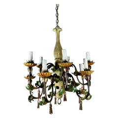 Italian Painted Wood and Iron Chandelier, C. 1940