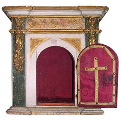 Italian XVIII Painted Wood Cabinet with One Door and Elaborate Fabric Decor