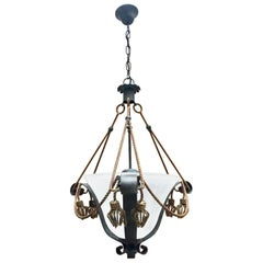 Italian Painted Wrought Iron Chandelier with Twisted Gilt Iron Tassels