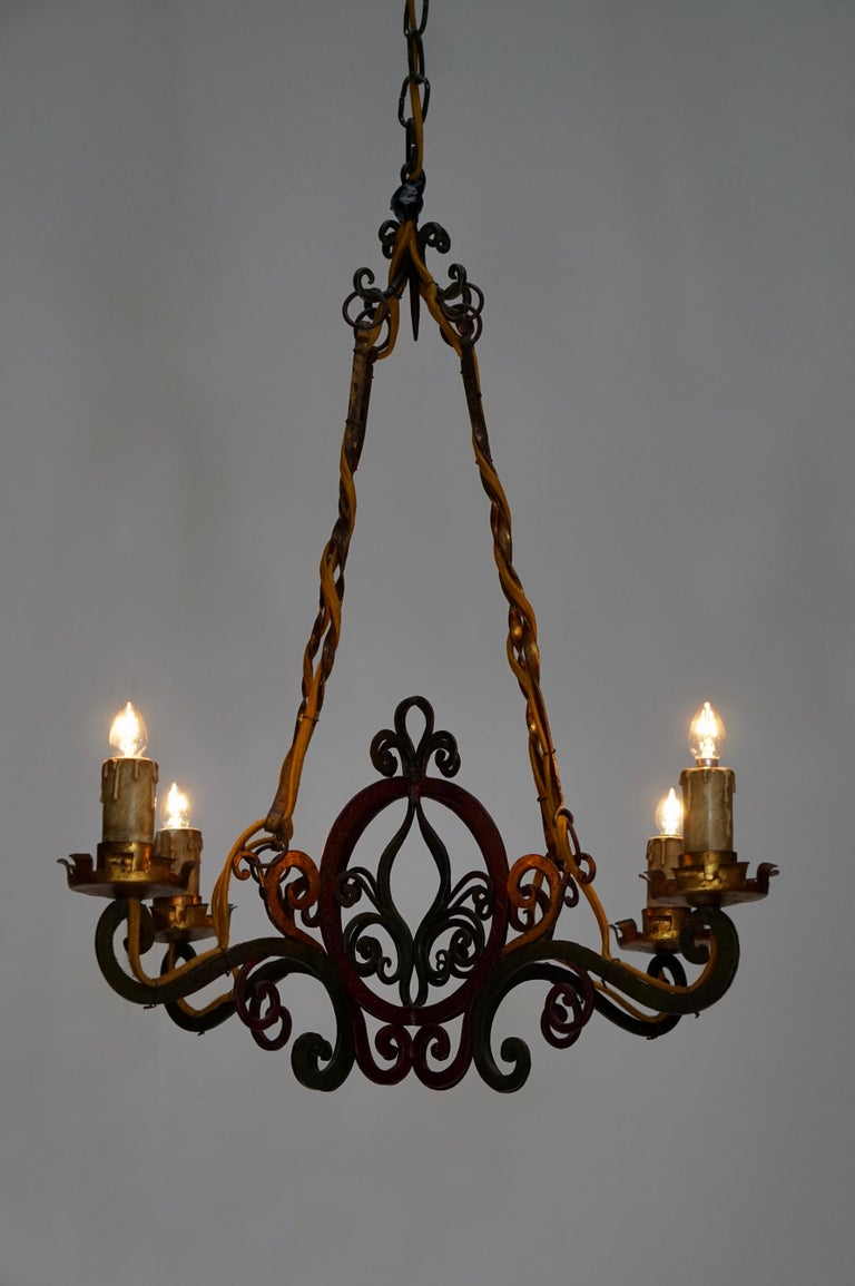 Italian Painted Wrought Iron Four Lights Chandelier For ...