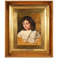 Italian Painting Portrait of a Girl Signed 1930, 20th Century