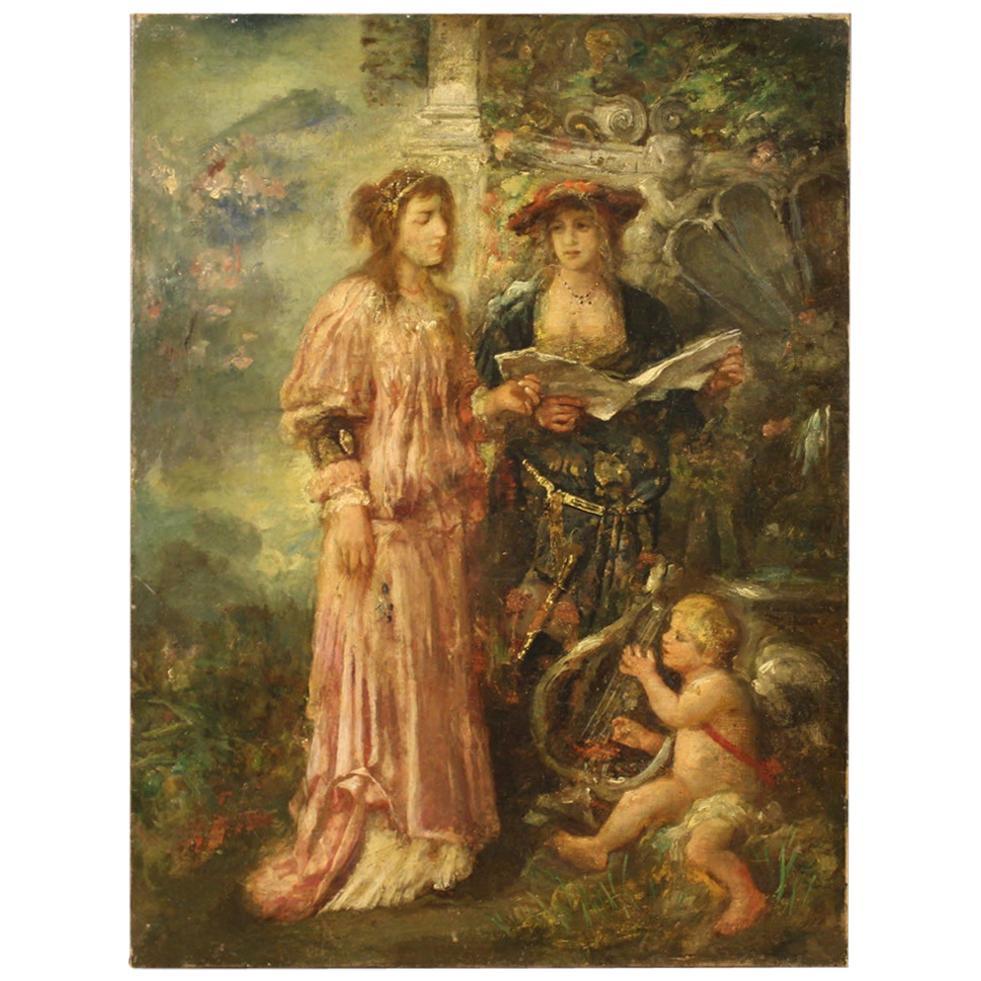 Italian Painting Romantic Scene from the 19th Century