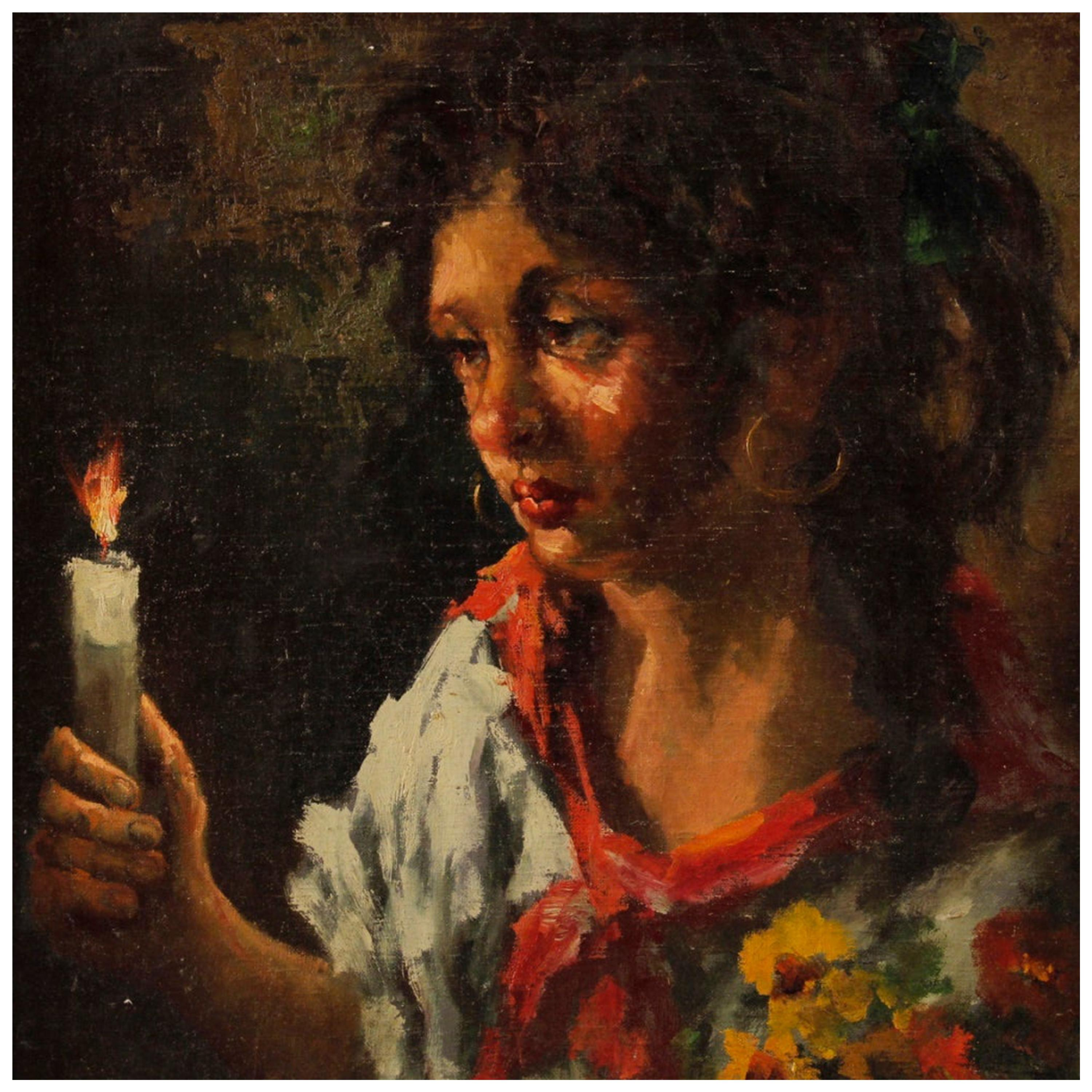 Italian Painting Signed and Dated Portrait of a Gypsy, 20th Century