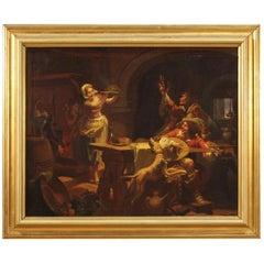 Italian Painting Signed Mattia Traverso Interior Scene, 20th Century