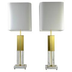 Italian Pair Art Deco Urban Design White Marble Satin Brass Empire Table Lamps