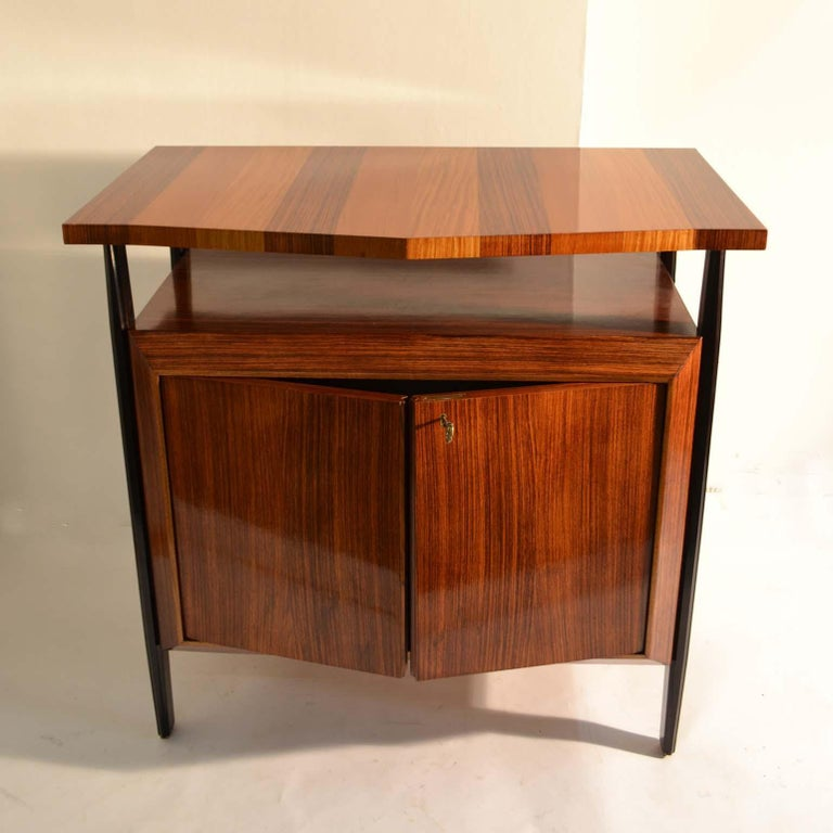 Mid-Century Modern Pair of Cabinets in Blond & Palisander Veneers Attributed to Ico Parisi 1955 For Sale