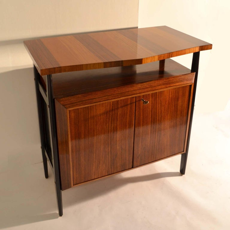 Mid-20th Century Pair of Cabinets in Blond & Palisander Veneers Attributed to Ico Parisi 1955 For Sale