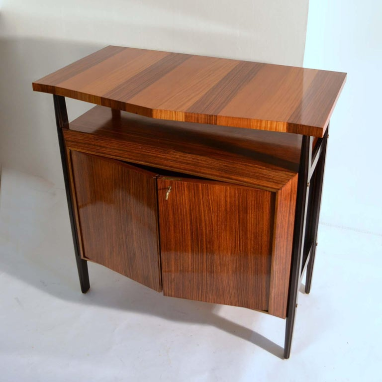 Fruitwood Pair of Cabinets in Blond & Palisander Veneers Attributed to Ico Parisi 1955 For Sale