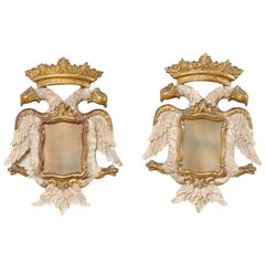 Italian Pair Federal-Style Eagle Wall Decorations with Mirror Centers
