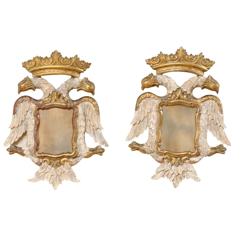 Italian Pair Federal-Style Eagle Wall Decorations with Mirror Centers For Sale