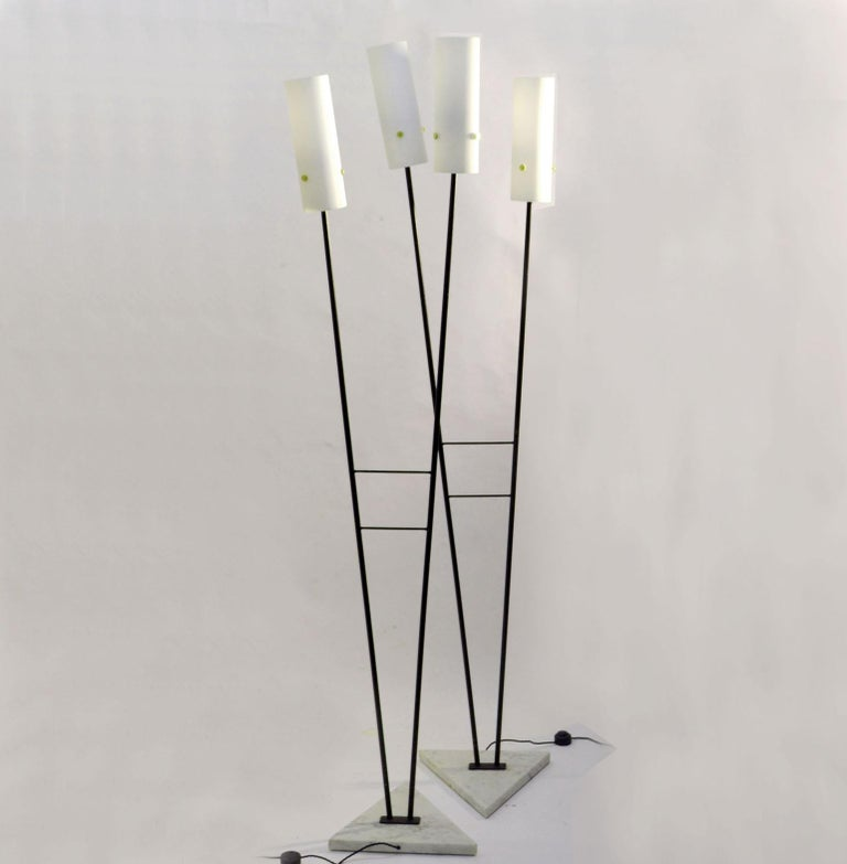 Mid-Century Modern Pair of Black and White Floor Stilnovo Style Lamps, 1960's Italy  For Sale