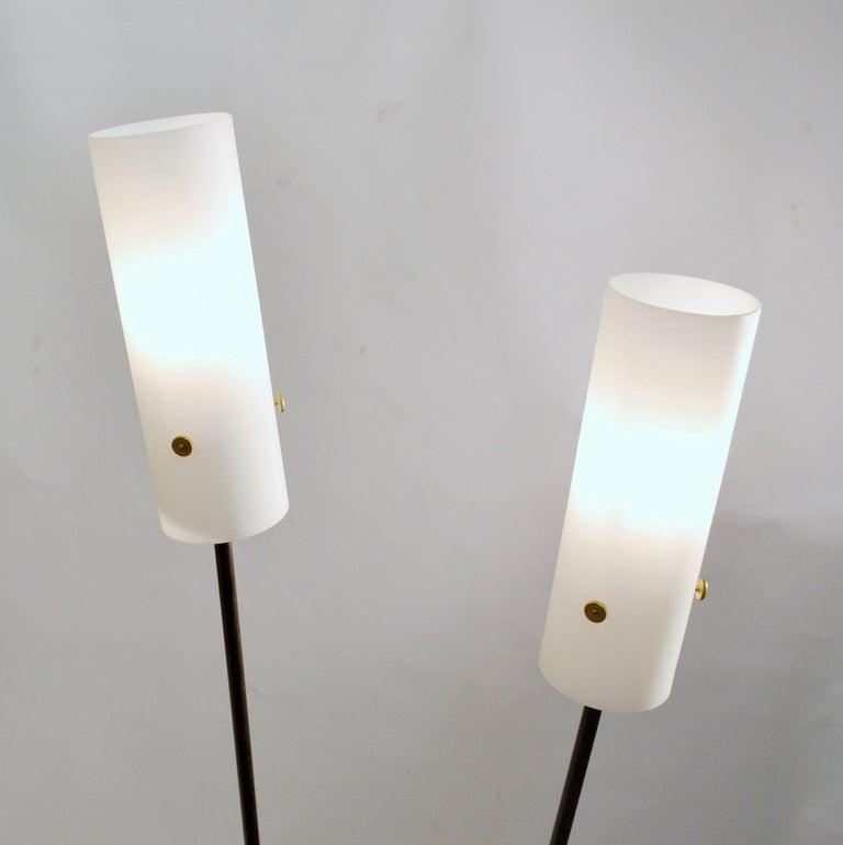 Italian Pair of Black and White Floor Stilnovo Style Lamps, 1960's Italy  For Sale