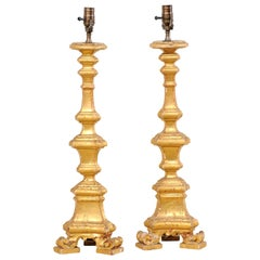Italian Pair of 19th C. Candlestick Carved Table Lamps with Gilt Finish