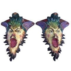 Italian Pair of 20th Century Majolica Grotesque Brackets by Francesconi Giulio