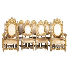 Italian Pair of Armchairs and 7 Chairs, 19th Century