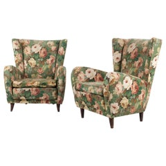 Italian Pair of Armchairs with Floral Fabric Cover, Attr. Paolo Buffa, 1950s
