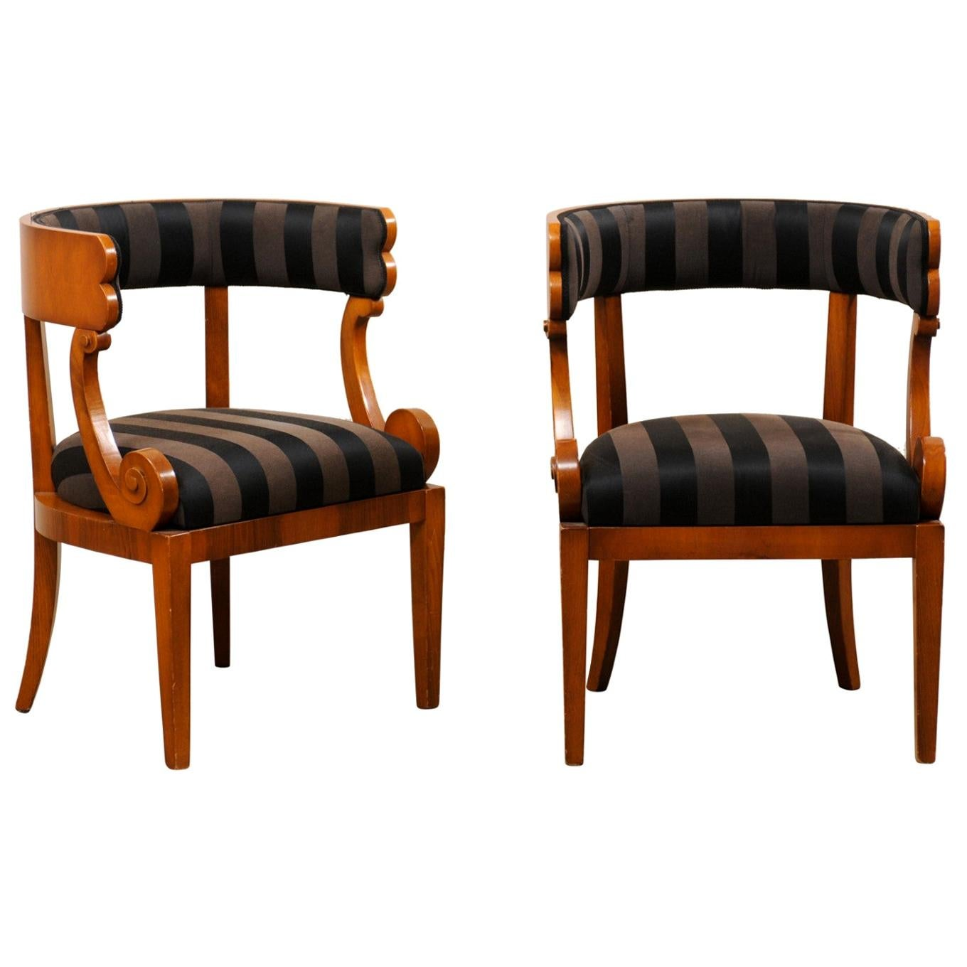 Italian Pair of Barrel Back Chairs with Beautiful Volute-Carved Arm Supports