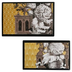 Italian Pair of Black Lacquered and Printed Wooden Boxes