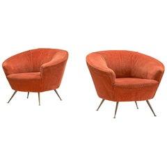 Italian Pair of Bold Club Chairs in Orange Velours