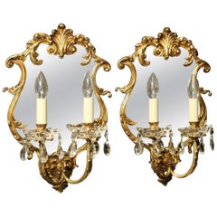 Italian Pair of Bronze and Crystal Antique Girandoles