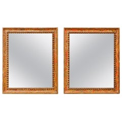 Italian Pair of Carved Wood Mirrors from the Turn of the 18th and 19th Century