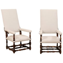 Italian Pair of Carved Wood and Upholstered Reclining Armchairs, 18th Century
