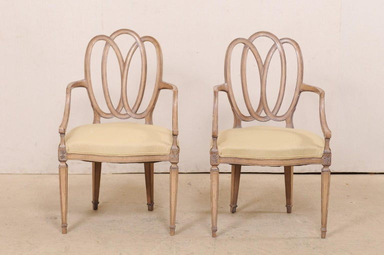 Italian Pair of Carved-Wood Armchairs with Upholstered Seats, Mid-20th Century For Sale 6