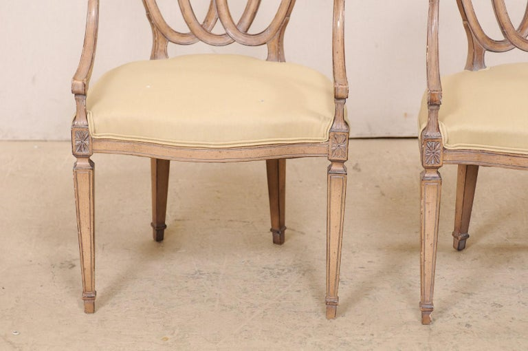 Italian Pair of Carved-Wood Armchairs with Upholstered Seats, Mid-20th Century For Sale 7