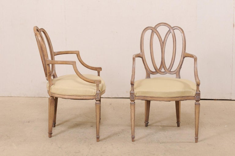 Italian Pair of Carved-Wood Armchairs with Upholstered Seats, Mid-20th Century In Good Condition For Sale In Atlanta, GA