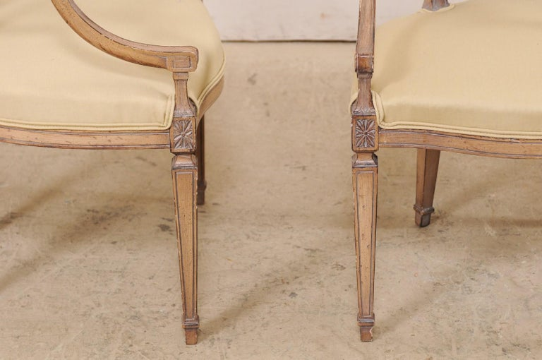 Italian Pair of Carved-Wood Armchairs with Upholstered Seats, Mid-20th Century For Sale 1