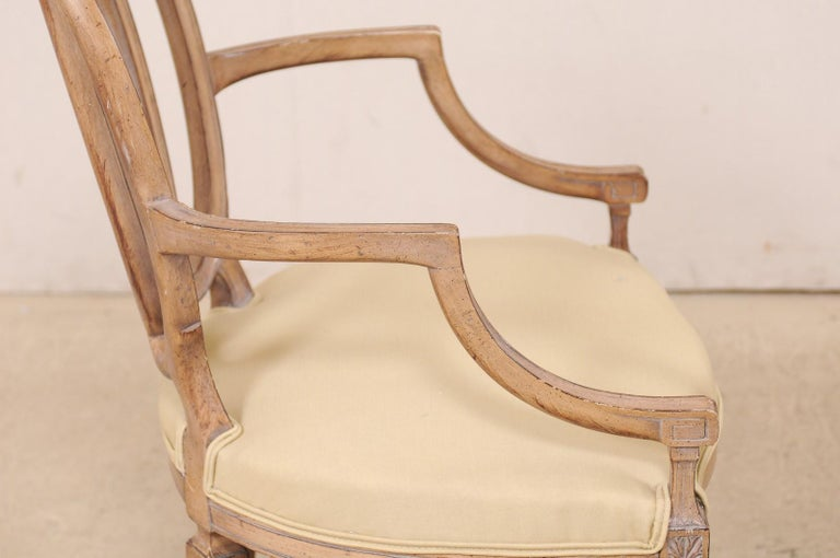 Italian Pair of Carved-Wood Armchairs with Upholstered Seats, Mid-20th Century For Sale 2