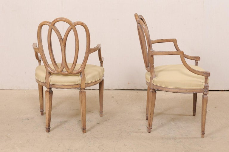Italian Pair of Carved-Wood Armchairs with Upholstered Seats, Mid-20th Century For Sale 3
