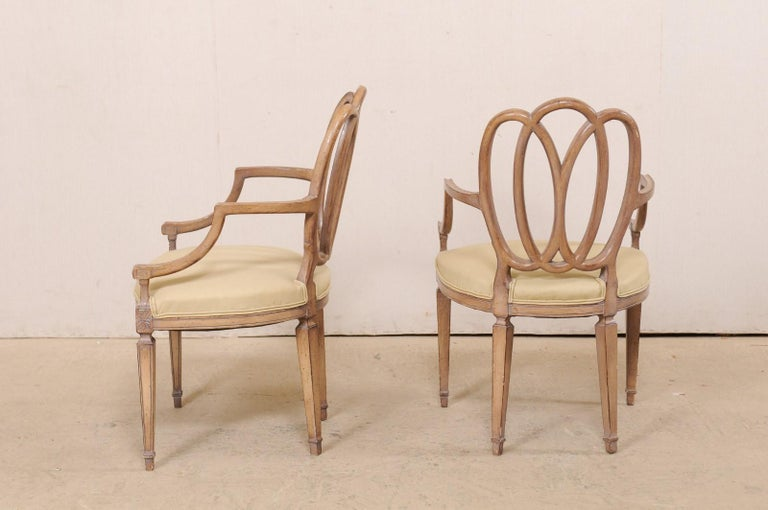 Italian Pair of Carved-Wood Armchairs with Upholstered Seats, Mid-20th Century For Sale 4
