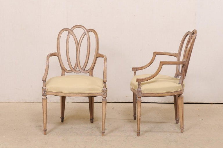Italian Pair of Carved-Wood Armchairs with Upholstered Seats, Mid-20th Century For Sale 5