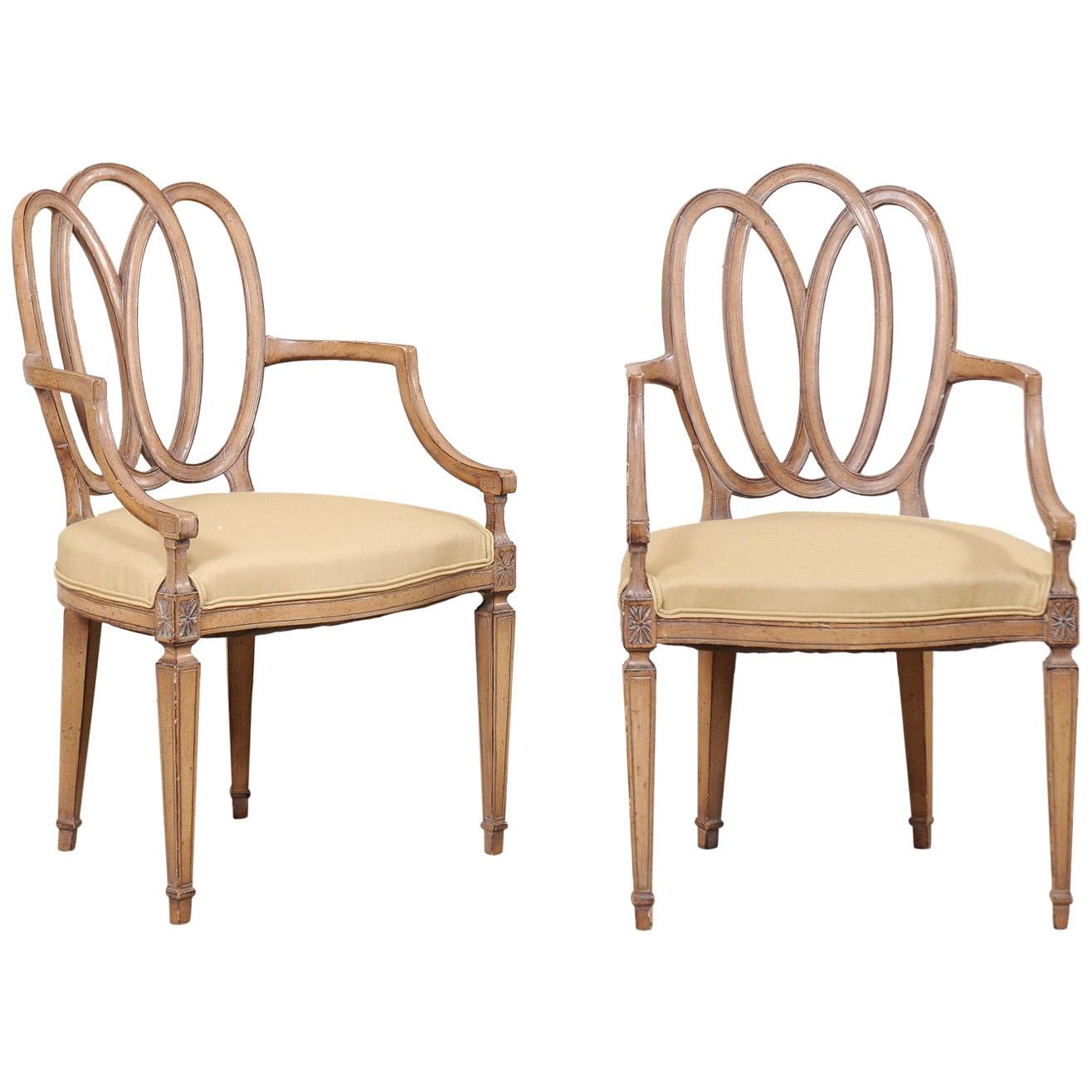Italian Pair of Carved-Wood Armchairs with Upholstered Seats, Mid-20th Century